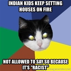"""Winnipeg Cat - indian kids keep setting houses on fire not allowed to say so because it's """"racist"""""""