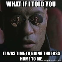 """Morpheus """"what if I told you"""" - What if I told you  It was time to bring that ass home to me"""