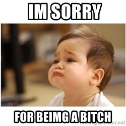 sorry baby -  im sorry  for beimg a bitch