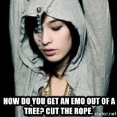 EMO IDIOT LAURA MATSUE -   How do you get an emo out of a tree? Cut the rope.