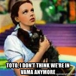 dorothy toto -  toto, i don't think we're in vama anymore