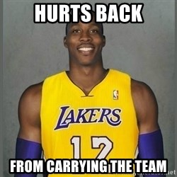 Dwight Howard Lakers - Hurts back From carrying the team