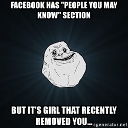 """Forever Alone - Facebook has """"People You May Know"""" section But it's girl that recently removed you..."""
