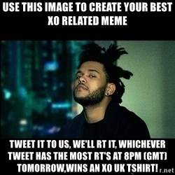 The Weeknd saw what you did there! - Use this image to create your best XO related meme Tweet it to us, we'll RT it, whichever tweet has the most RT's at 8pm (GMT) tomorrow,wins an XO UK tshirt!