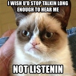 Grumpy Cat  - i wish u'd stop talkin long enough to hear me not listenin
