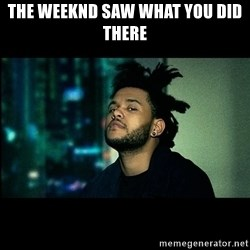 The Weeknd saw what you did there! - The weeknd saw what you did there
