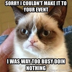 Grumpy Cat  - sorry i couldn't make it to your event i was way too busy doin nothing