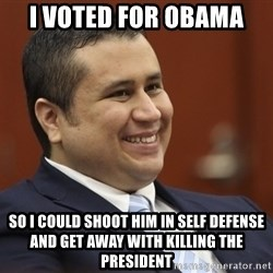 George Zimmerman troll - i voted for obama so i could shoot him in self defense and get away with killing the president