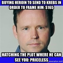 krebsonsecurity - Buying heroin to send to Krebs in order to frame him: $165 Hatching the plot where he can see you: Priceless