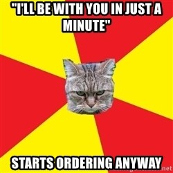 "Fast Food Feline - ""I'll be with you in just a minute"" Starts ordering anyway"