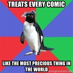 Comic Book Addict Penguin - treats every comic like the most precious thing in the world