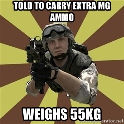 Arma 2 soldier - Told to carry extra MG ammo weighs 55kg