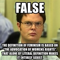 """False guy - false the definition of feminism is based on """"the advocation of womens rights"""". that alone by literal definition makes it entirely sexist."""
