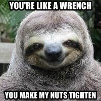 Sexual Sloth - you're like a wrench you make my nuts tighten