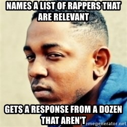 Kendrick Lamar - Names a list of rappers that are relevant  Gets a response from a dozen that aren't