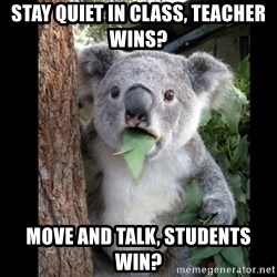 Koala can't believe it - Stay quiet in class, Teacher wins? Move and talk, students win?