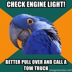 Paranoid Parrot - Check engine light! Better pull over and call a tow truck