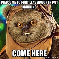 Rape Ewok - Welcome to Fort leavenworth PVT Manning come here