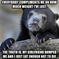 Confession Bear - Everybody compliments me on how much weight i've lost The truth is, my girlfriend dumped me and i just eat enough not to die