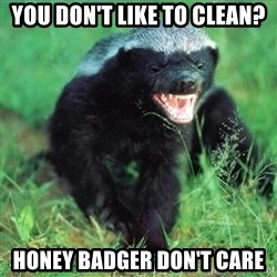 Honey Badger Actual - You don't like to clean? Honey badger don't care