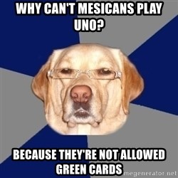 Racist Dawg - Why can't Mesicans Play UNO? Because they're not allowed Green Cards