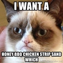 Angry Cat Meme - I want a Honey BBQ chicken strip sand which