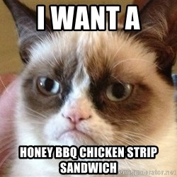 Angry Cat Meme - I want a  Honey BBQ chicken strip sandwich