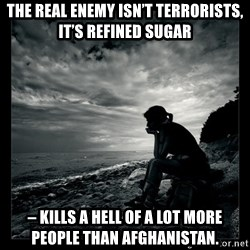 Inspirational quotes - The real enemy isn't terrorists, it's refined sugar  – kills a hell of a lot more people than Afghanistan.