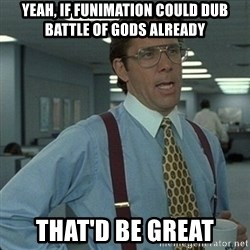 Yeah that'd be great... - Yeah, if funimation could dub battle of gods already that'd be great