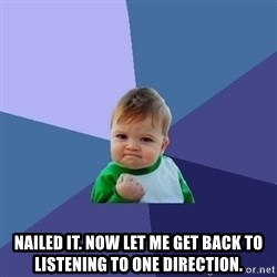 Success Kid -  Nailed it. Now let me get back to listening to One Direction.