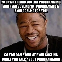 Yo Dawg - Yo dawg I heard you like programming and ryan gosling so I programmed a ryan gosling for you, so you can stare at ryan gosling while you talk about programming