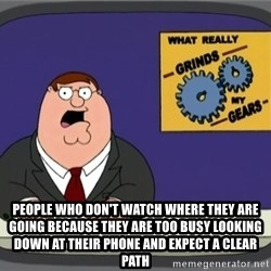 What really grinds my gears -  people who don't watch where they are going because they are too busy looking down at their phone and expect a clear path