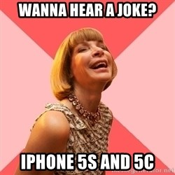 Amused Anna Wintour - Wanna hear a joke? iPhone 5s and 5c