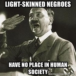Hitler - light-skinned negroes have no place in human society