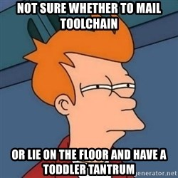 Not sure if troll - not sure whether to mail toolchain or lie on the floor and have a toddler tantrum