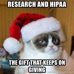 Grumpy Cat Santa Hat - Research and HIPAA The Gift that keeps on giving