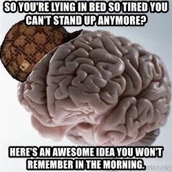 Scumbag Brain - So you're lying in bed so tired you can't stand up anymore? Here's an awesome idea you won't remember in the morning.