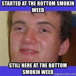 rally drunk guy - STARTED AT THE BOTTOM SMOKIN WEED  STILL HERE AT THE BOTTOM SMOKIN WEED