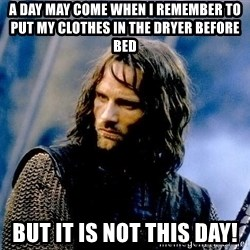 Not this day Aragorn - A day may come when I remember to put my clothes in the dryer before bed but it is not this day!