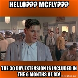 George McFly - HELLO??? MCFLY??? THE 30 DAY EXTENSION IS INCLUDED IN THE 6 MONTHS OF SD!