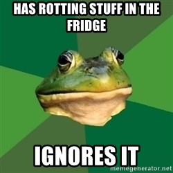Foul Bachelor Frog - has rotting stuff in the fridge ignores it
