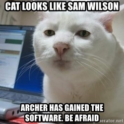 Serious Cat - Cat looks like sam wilson Archer has gained the software. be afraid
