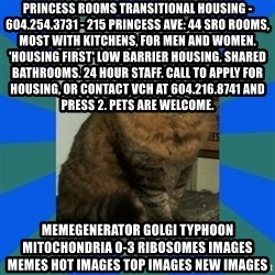 AMBER DTES VANCOUVER - Princess Rooms Transitional Housing - 604.254.3731 - 215 Princess Ave: 44 SRO rooms, most with kitchens, for men and women. 'Housing First' low barrier housing. Shared bathrooms. 24 hour staff. Call to apply for housing, or contact VCH at 604.216.8741 and press 2. Pets are welcome. MemeGenerator golgi typhoon mitochondria 0-3 ribosomes Images Memes Hot Images Top Images New Images