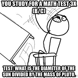 Desk Flip Rage Guy - You study for a math test 3x(b/c) Test: What is the diameter of the sun divided by the mass of pluto.