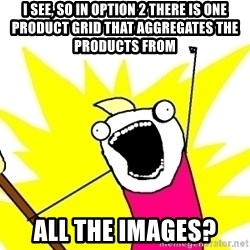 X ALL THE THINGS - i see, so in option 2 there is one product grid that aggregates the products from all the images?