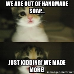 Adorable Kitten - We are out of handmade soap... Just kidding! We made more!