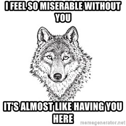 Sarcastic Wolf - I feel so miserable without you it's almost like having you here
