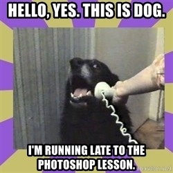 Yes, this is dog! - HELLO, YES. THIS IS DOG. I'M RUNNING LATE TO THE PHOTOSHOP LESSON.