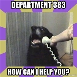 Yes, this is dog! - department 383 how can i help you?