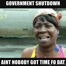 Sweet brown - government shutdown aint nobody got time fo dat